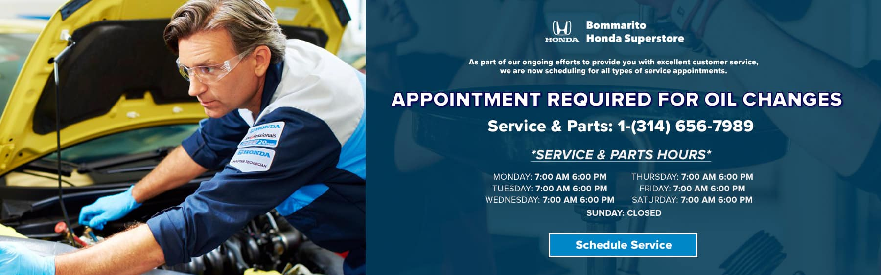 Appointment required for oil Changes