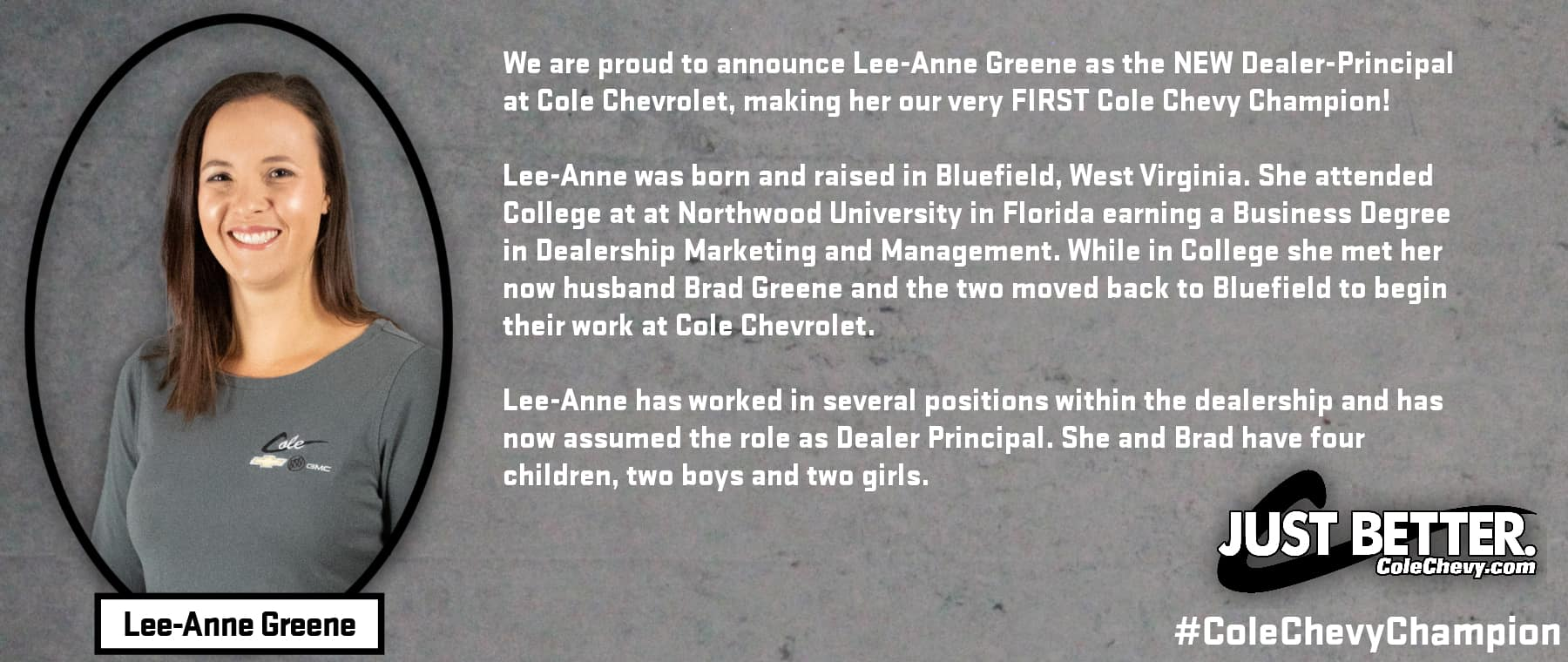 Cole Chevy Champion – Lee-Anne 1