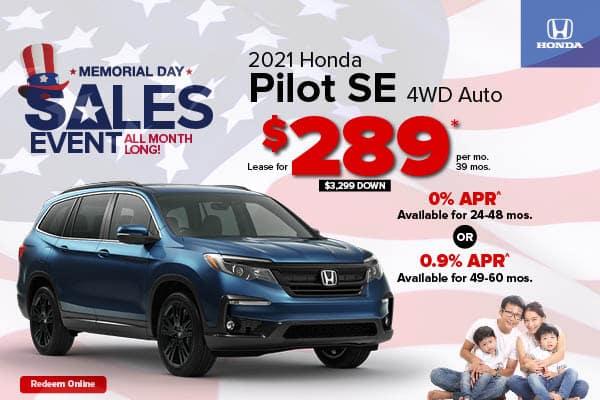 New 2021 Honda Pilot AWD SE