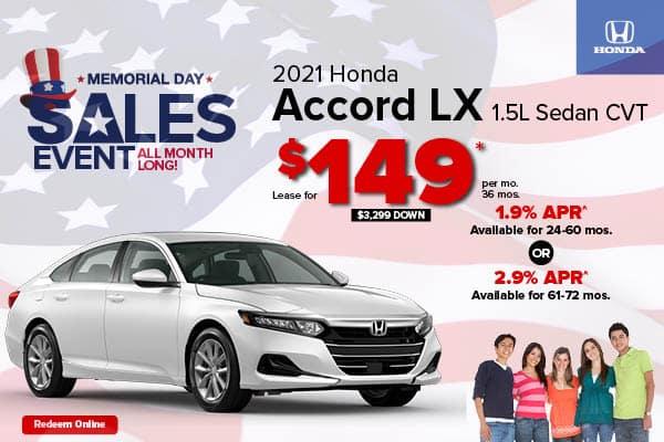 New 2021 Honda Accord 1.5T LX Sedan