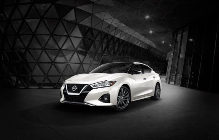 2021 Nissan Maxima in White Dark Background