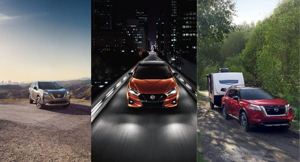 Three Nissan Models - Rogue, Maxima, and Pathfinder