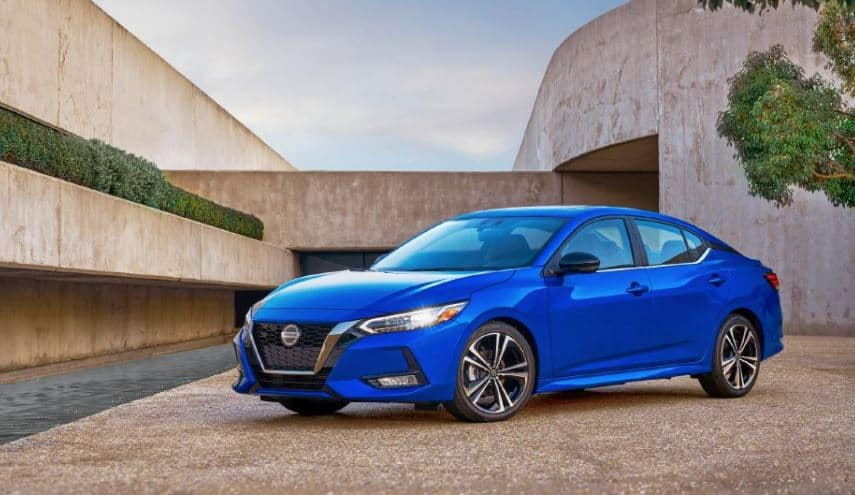 Nissan Sentra in Blue Outdoors