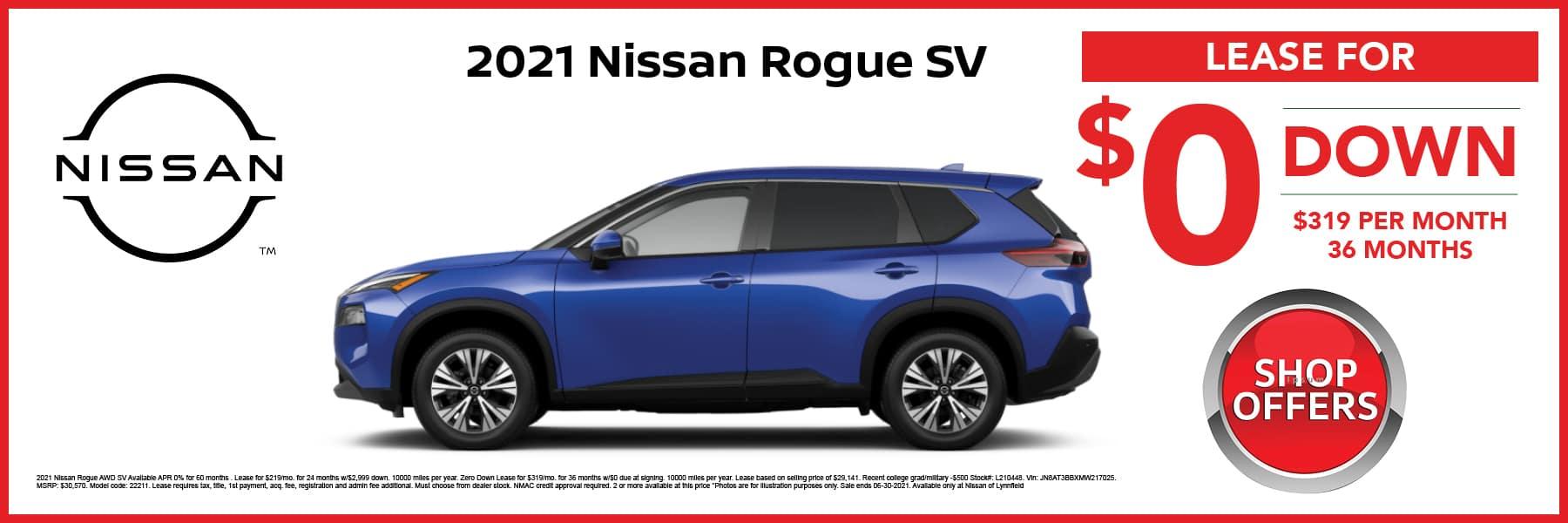 2021 Nissan Rogue SV Lease Offer Web Slide
