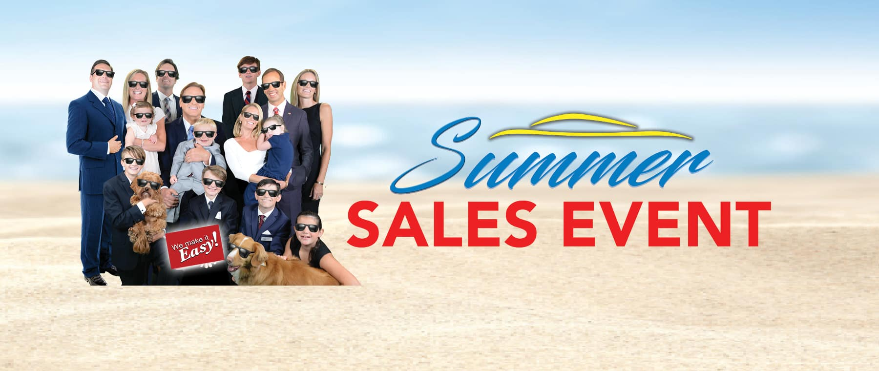 Summer Sales Event and Brian Kelly with Family Beach in Background