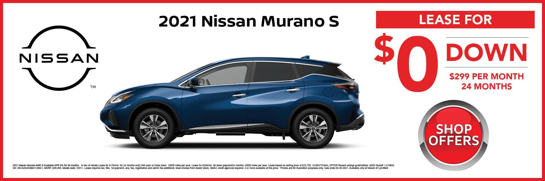 2021 Nissan Murano S in Blue Lease Offer Web Slide