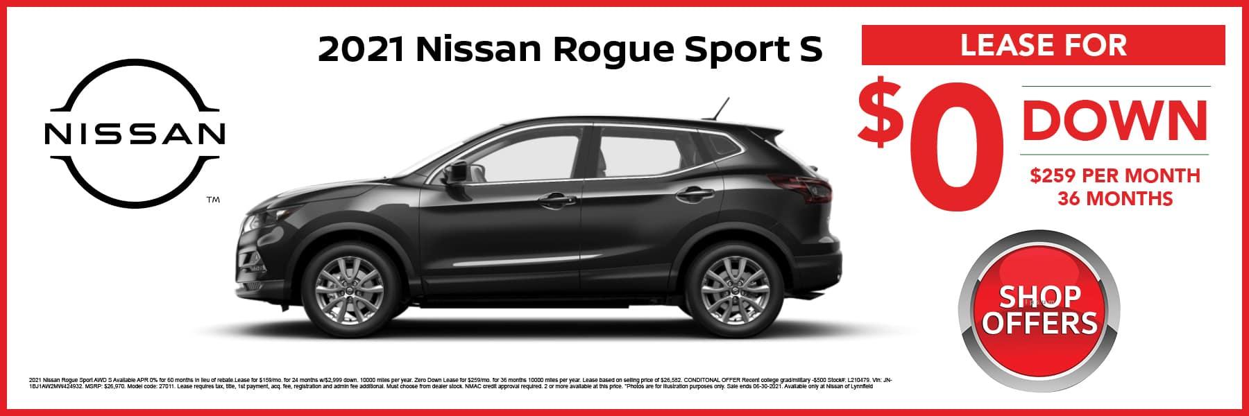 2021 Nissan Rogue Sport S in Black Lease Offer Web Slide