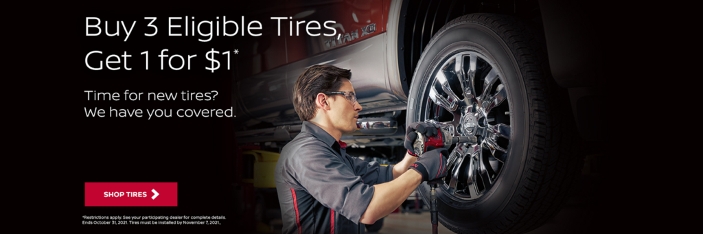 Buy 3 Tires Get One For One Dollar At Kelly Nissan of Lynnfield