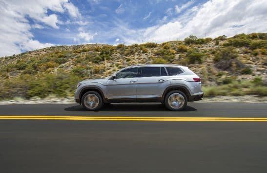2020 VW Atlas Driving Down Street in Desert
