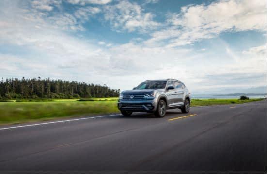 2020 Volkswagen Atlas Driving Down Empty Street