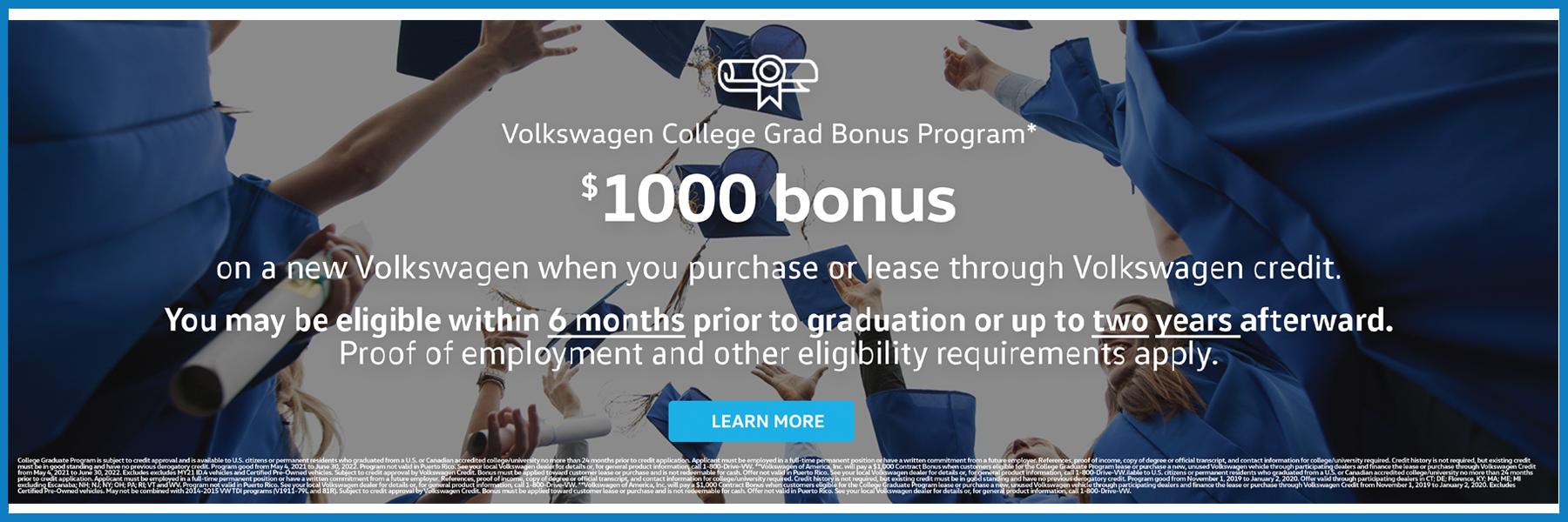 $1,000 Volkswagen College Bonus Offer Web Slide