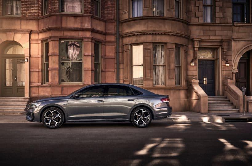 2021 Volkswagen Passat Color Gray on Street Outside Building