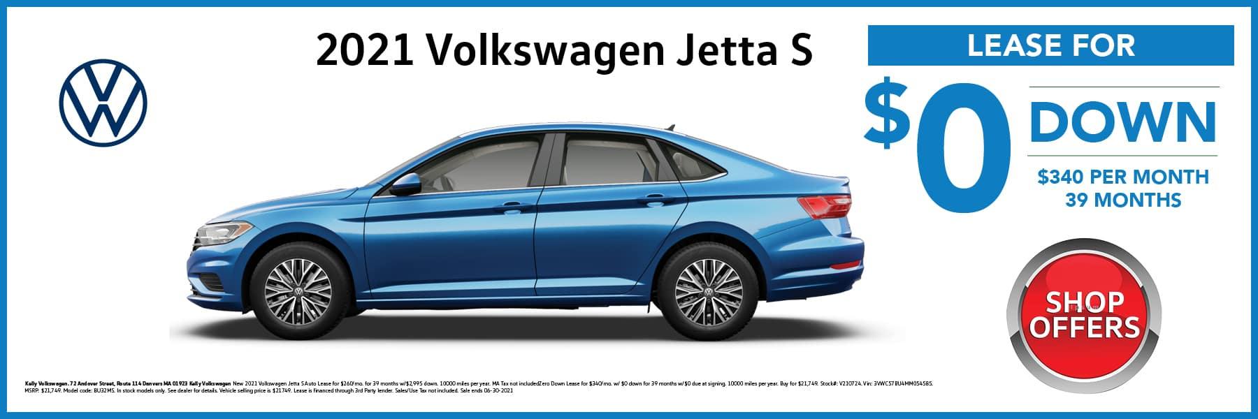 2021 Volkswagen Jetta S in Blue Lease Offer Web Slide