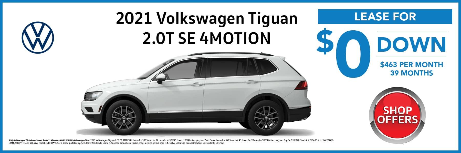 2021 Volkswagen Tiguan SE SUV in White Lease Offer Web Slide