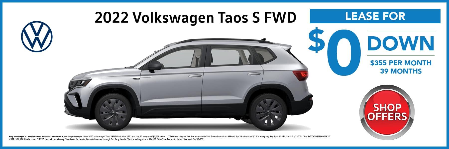2022 Volkswagen Taos SUV in Silver Lease Offer Web Slide