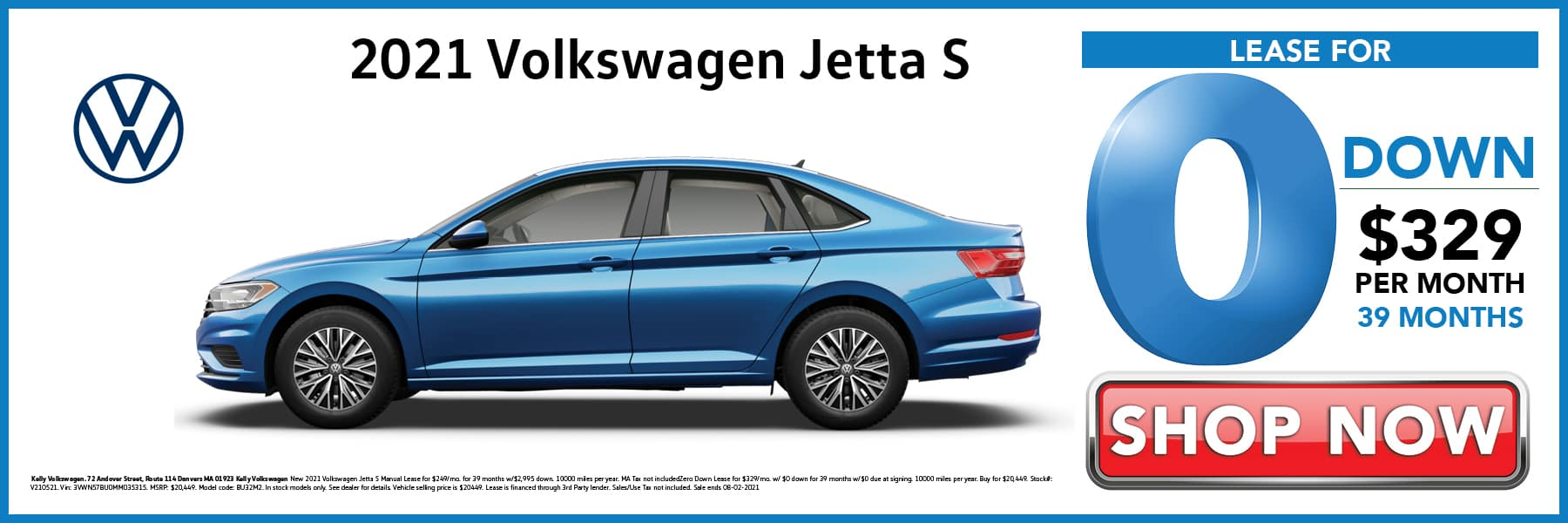 2021 Volkswagen Jetta S Lease for 0 Down then $329 per Month for 39 Months