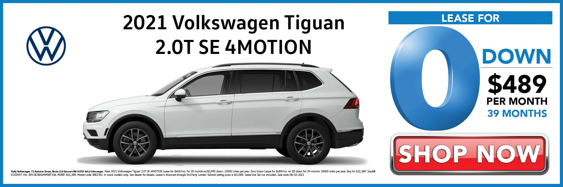 2021 Volkswagen Tiguan SE Lease for 0 Down then $489 per Month for 39 Months