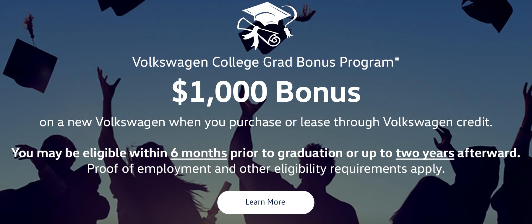 VW College Graduation Bonus - $1,000 at Kelly Volkswagen in Danvers MA