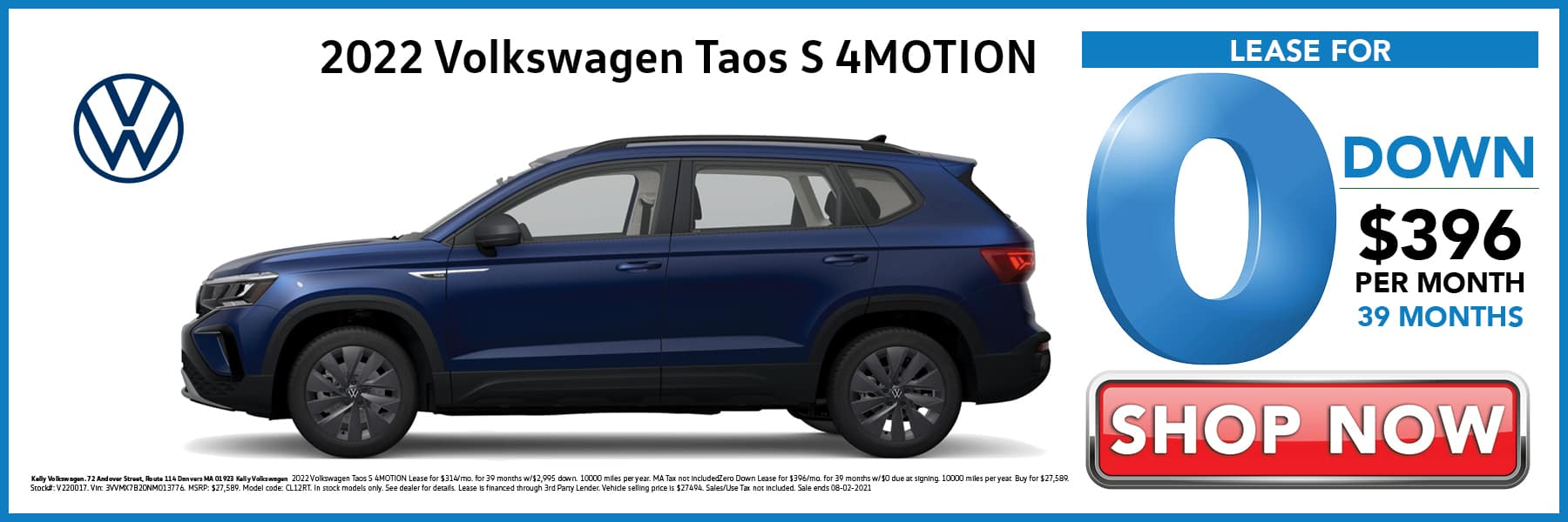 2022 Volkswagen Taos S Lease for 0 Down then $396 per Month for 39 Months