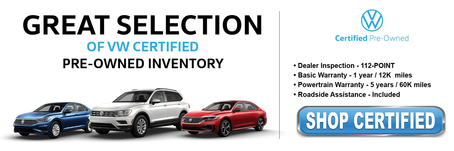 Shop Certified Pre-Owned Inventory at Kelly Volkswagen