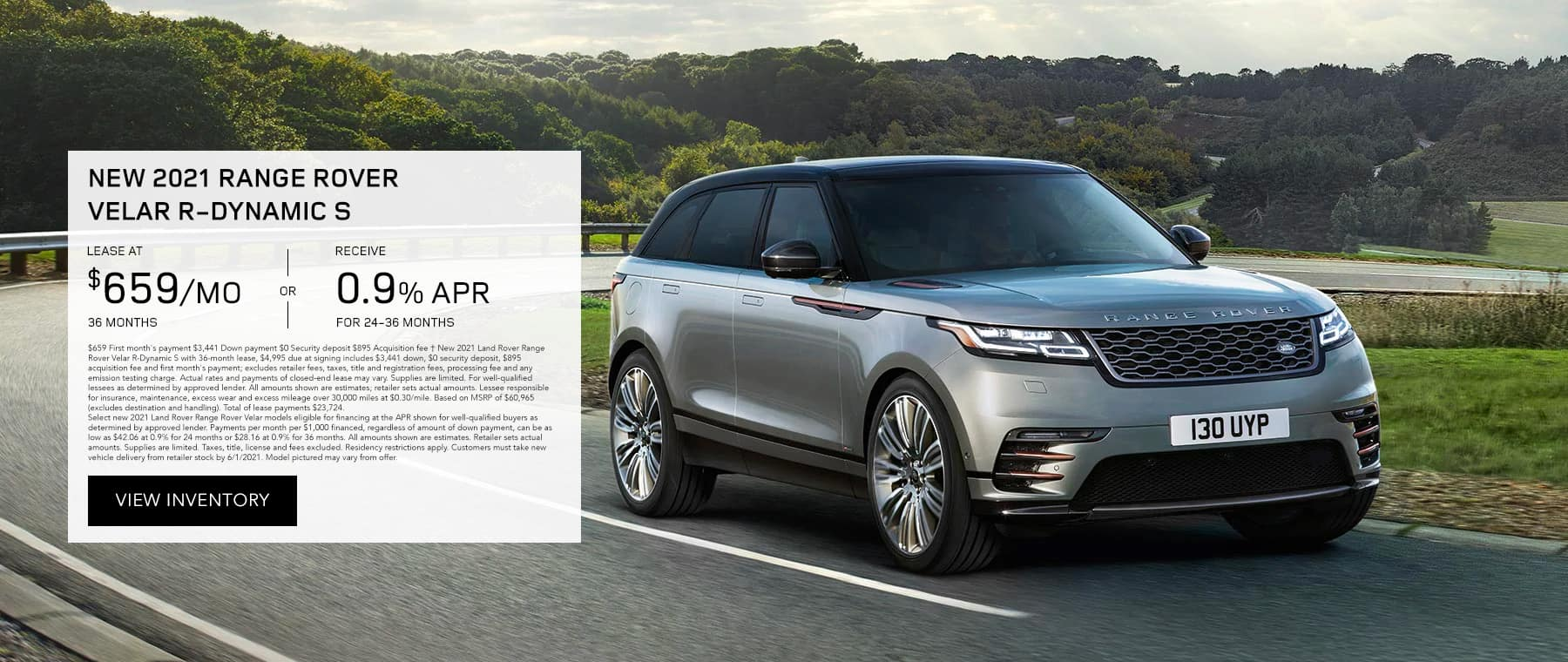 New 2021 RANGE ROVER VELAR R-DYNAMIC S, Lease for $659/mo for 36 months OR 0.9% APR for 24-36 months