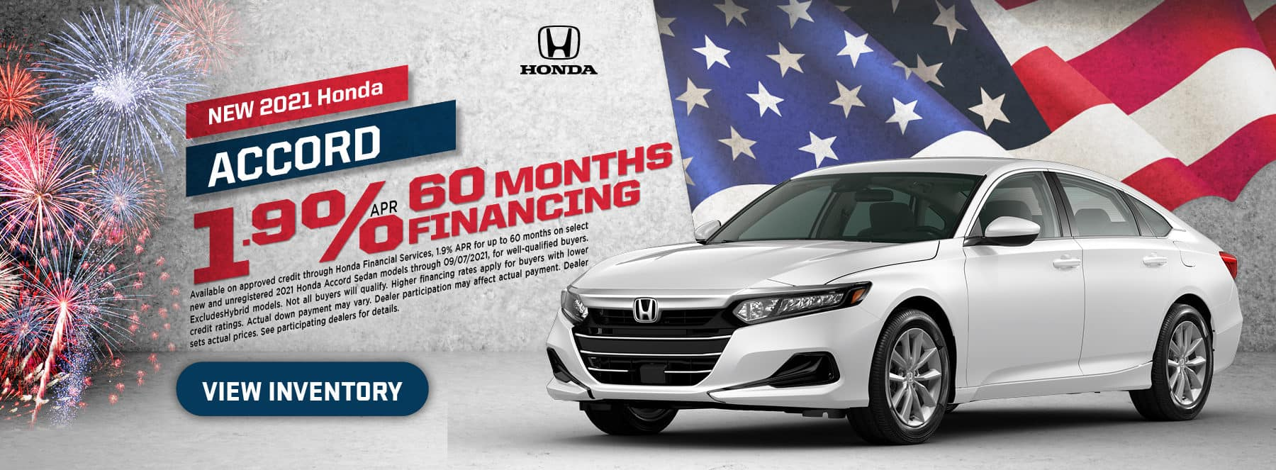 2021 Accord – 1.9% for 60 months