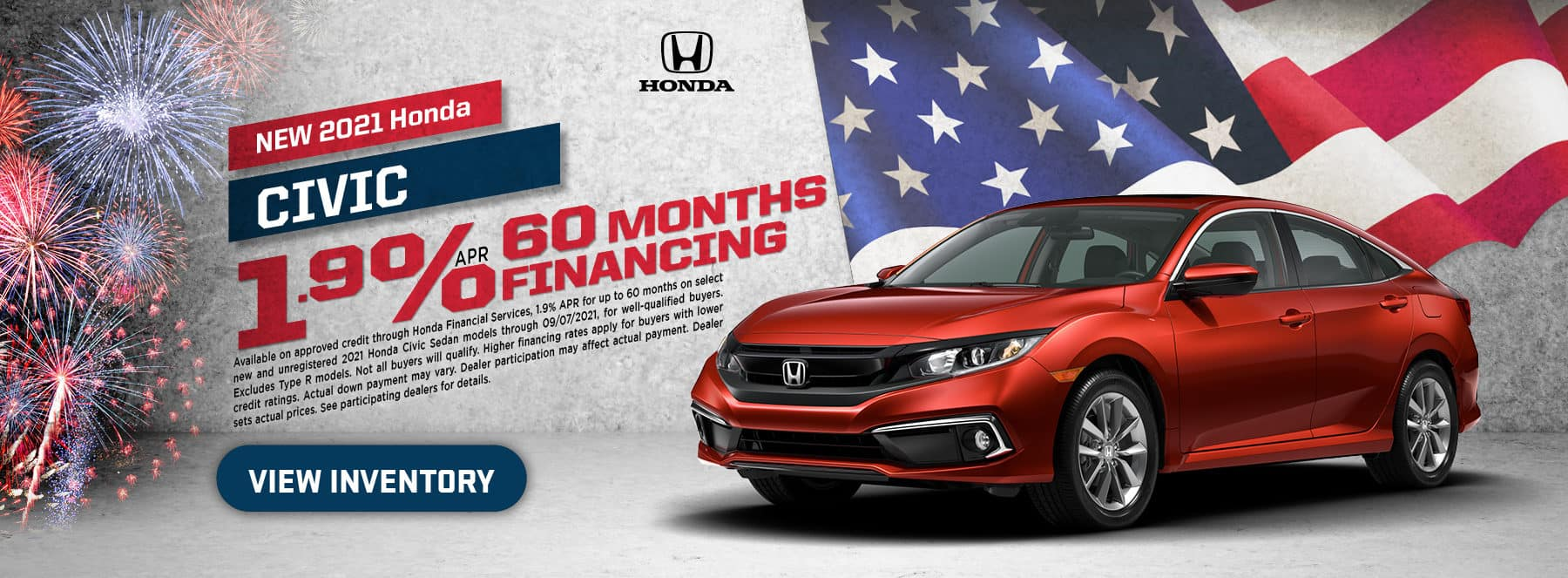 2021 Civic – 1.9% for 60 months