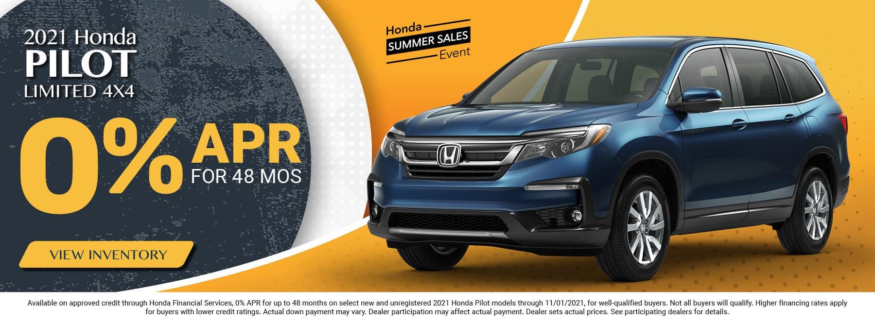 2021 Honda Pilot - 0.9% for 60 months