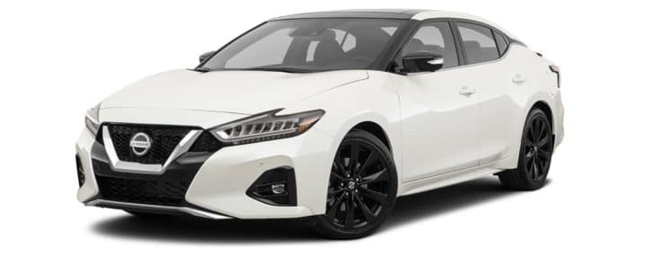 A white 2021 Nissan Maxima SR is angled left on a white background.