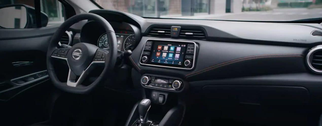 The dashboard of a 2021 Nissan Versa is shown.