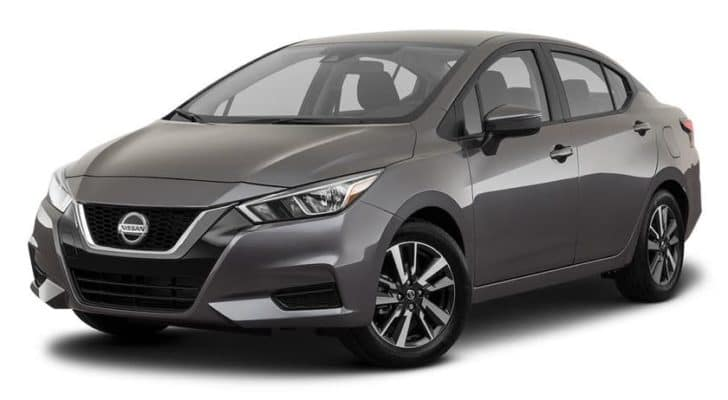 A silver 2021 Nissan Versa is angled left.