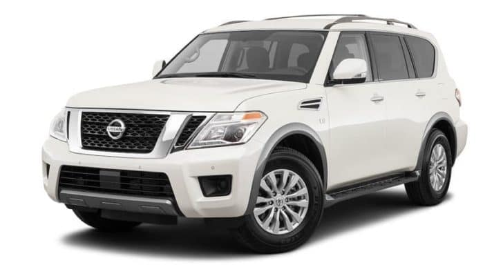 A white 2021 Nissan Armada is angled left.