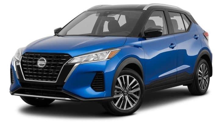 A blue 2021 Nissan Kicks is angled left.