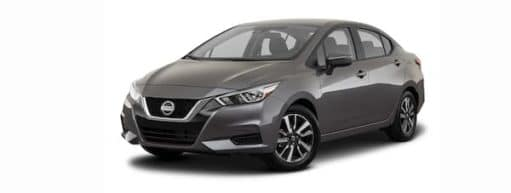 A grey 2021 Nissan Versa is angled left.