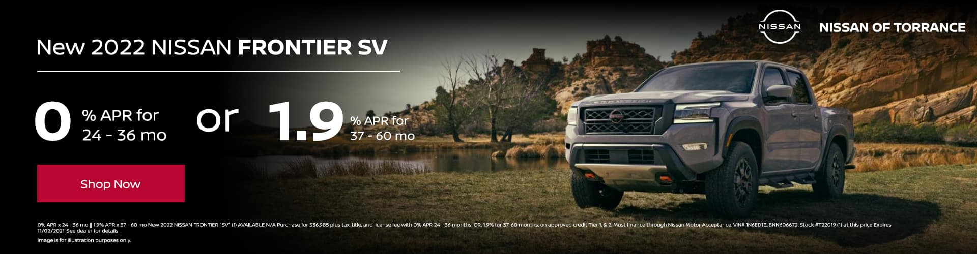 New 2022 NISSAN FRONTIER SV 0% APR for 24 - 36 months || 1.9% APR for 37 - 60 months