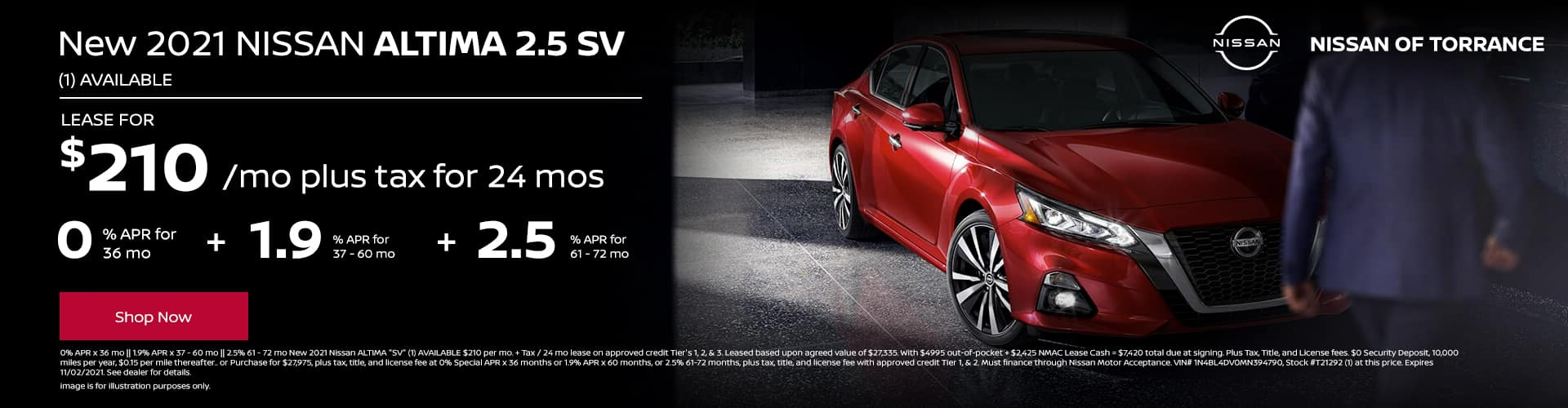 New 2021 Nissan ALTIMA 2.5 SV (1) AVAILABLE Lease for $210 per mo plus tax for 24 mo. OR 0% APR for 36 mo || 1.9% APR for 37 - 60 mo || 2.5% APR for 61 - 72 mo