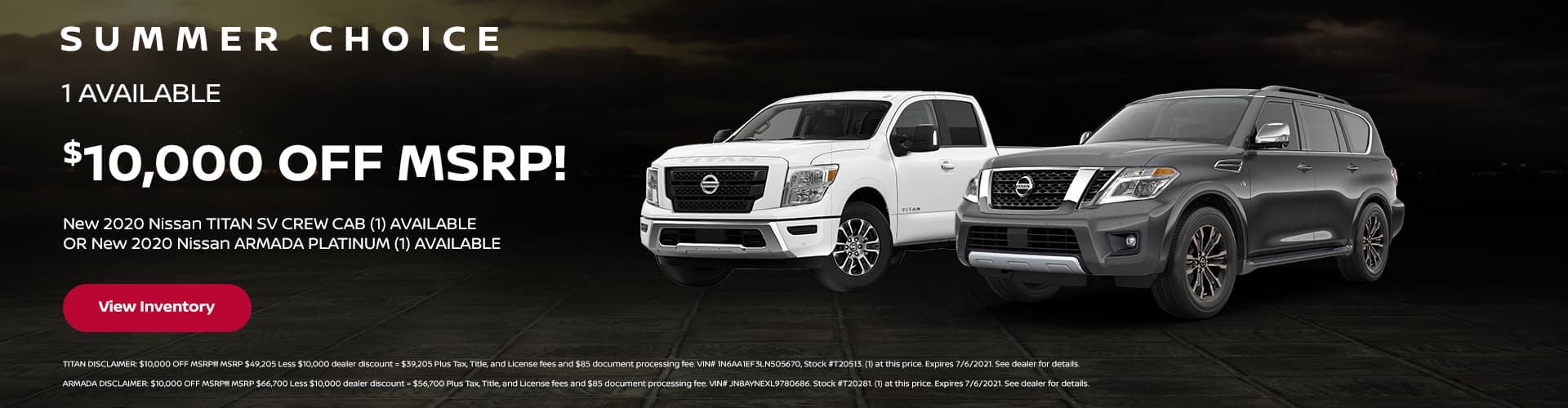 Nissan Titan and Armada