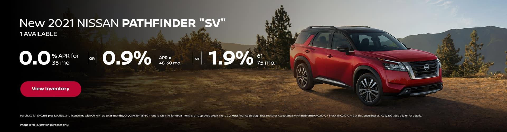 """0.0% APR x 36 mo. or 0.9% APR x 48-60 mo. or 1.9% x 61- 75 mo. New 2022 Nissan PATHFINDER """"SV"""" (1) AVAILABLE"""
