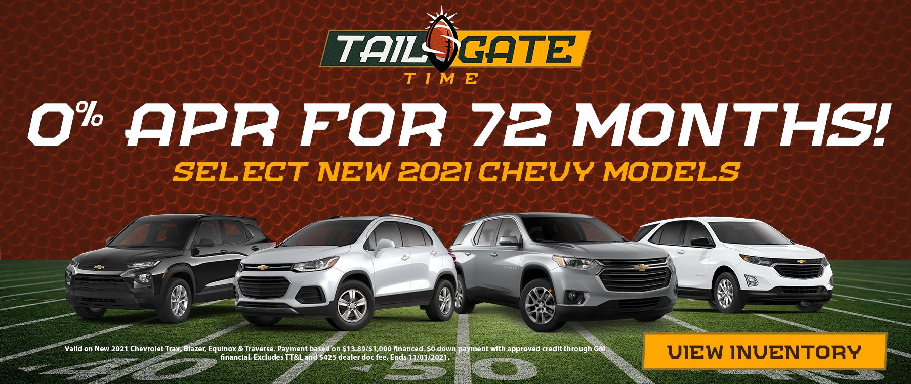 0% APR for 72 months at Ryan Chevy in Monroe, LA