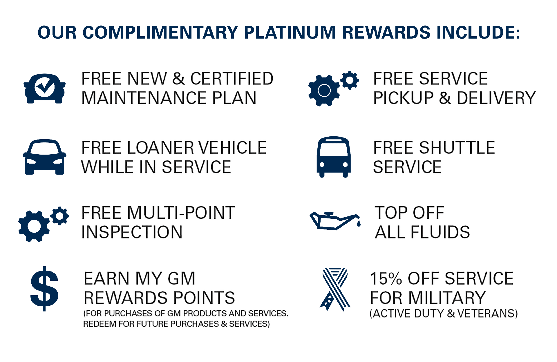 Platinum Rewards Include
