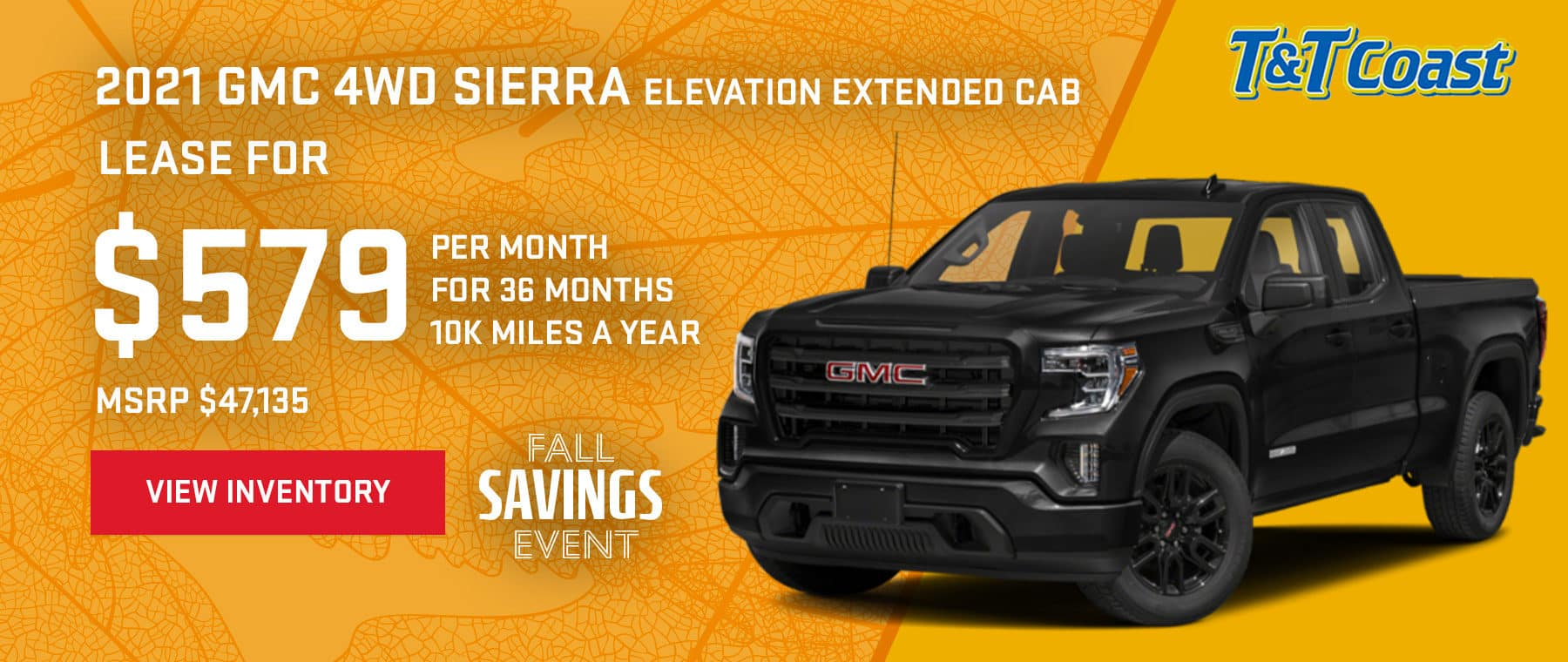 2021 GMC 4WD SIERRA ELEVATION EXTENDED CAB MSRP $47,135 $579/MONTH LEASE! For 36 Months /10K Miles/Year