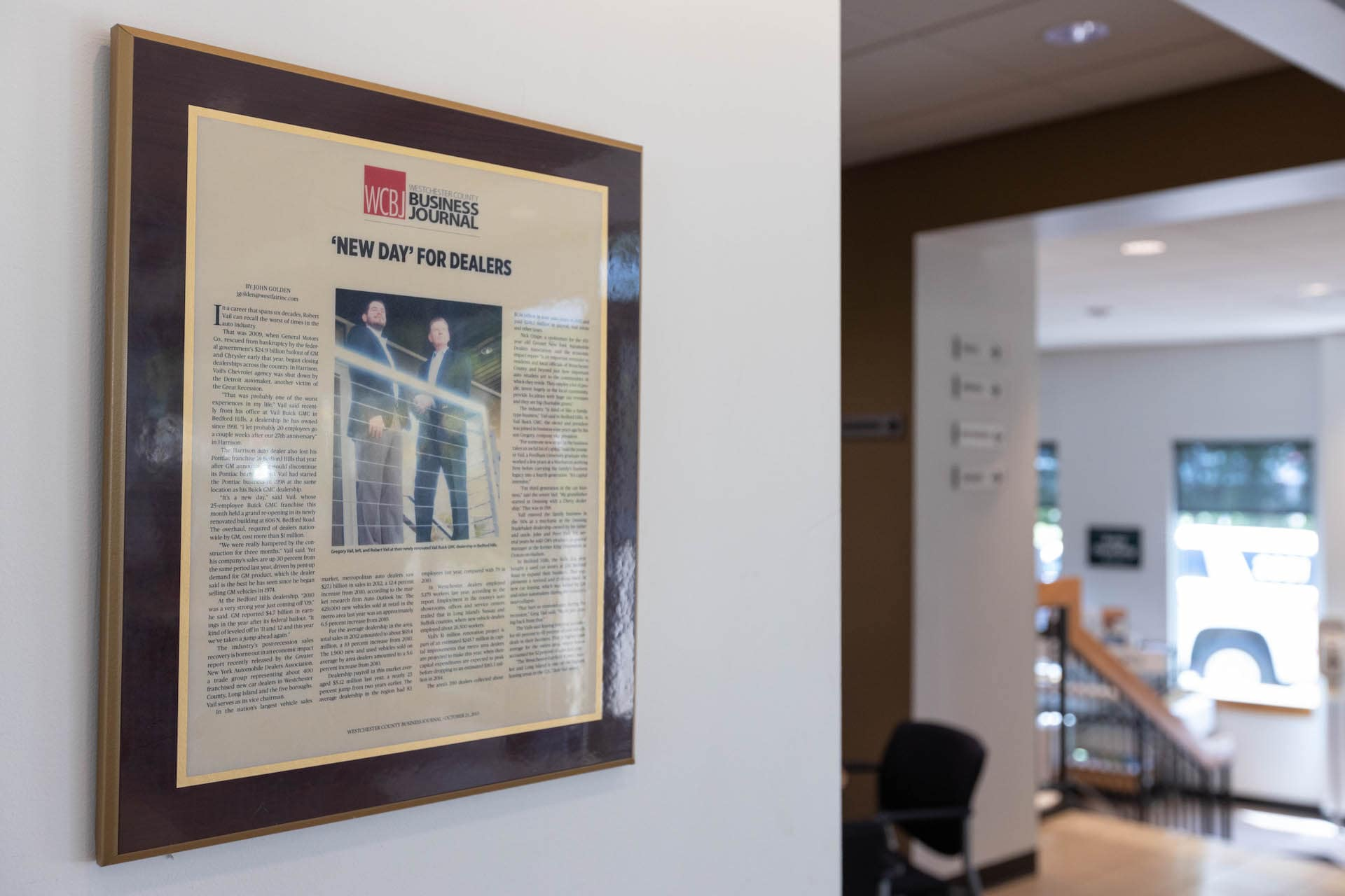 A newspaper hung in the offices.