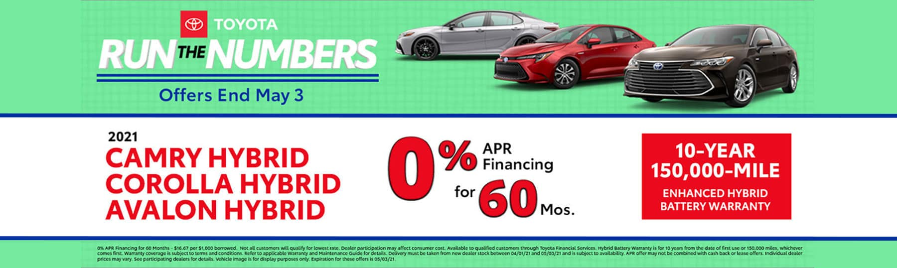 Toyota Run The Numbers - 0% APR Financing