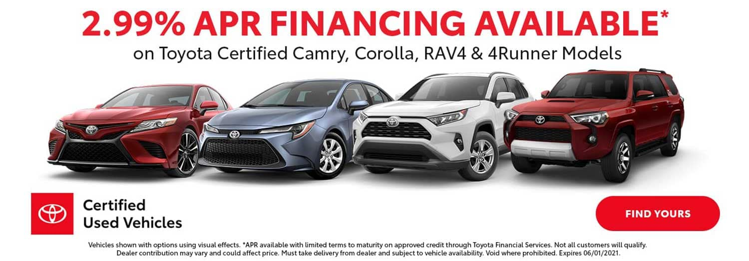 2.99% APR on select Toyota Certified Models