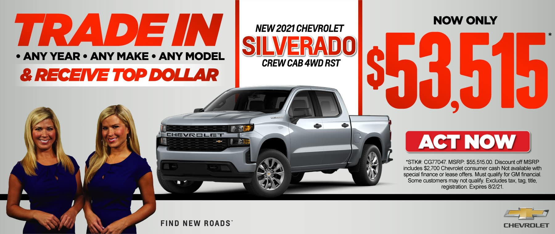 new 2021 Chevrolet Silverado Crew Cab RST now only $53,515. Act now.