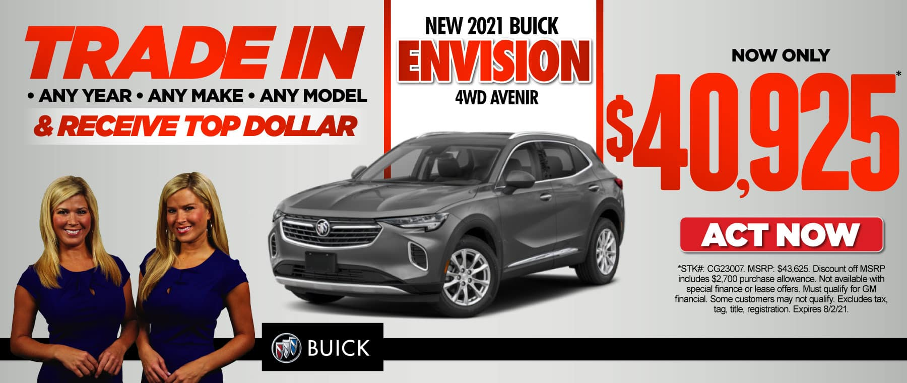 New 2021 Buick Envision Avenir now only $40,925. Act now.