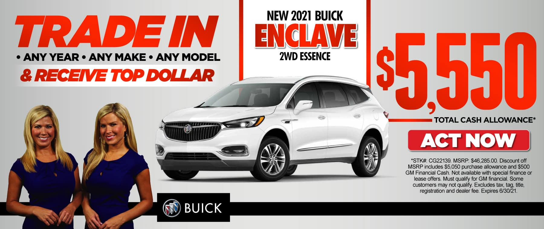 New 2021 Buick Enclave 2WD Essence | $5,550 Total Cash Allowance | ACT NOW
