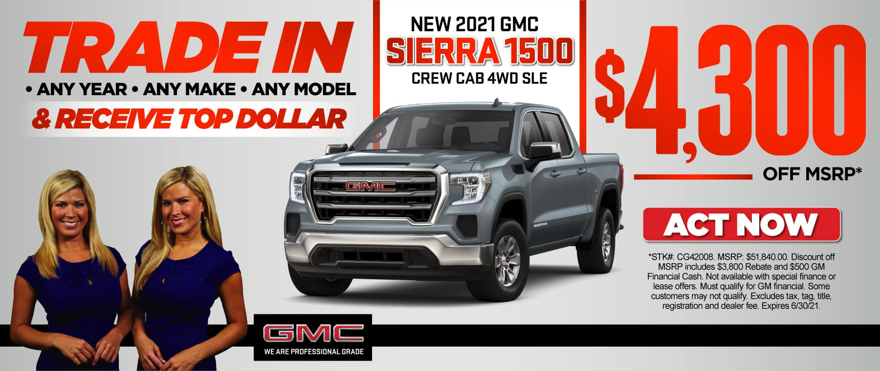 New 2021 GMC Sierra 1500 Crew Cab 4WD SLE | $4,300 Off MSRP | ACT NOW
